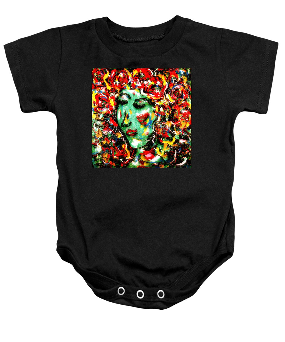 Girl Baby Onesie featuring the painting Carnival Girl by Natalie Holland