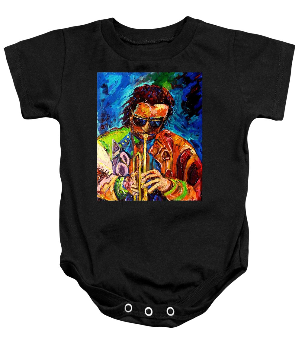 Carole Spandau Hot Jazz Portraits Baby Onesie featuring the painting Carole Spandau Paints Miles Davis And Other Hot Jazz Portraits For You by Carole Spandau