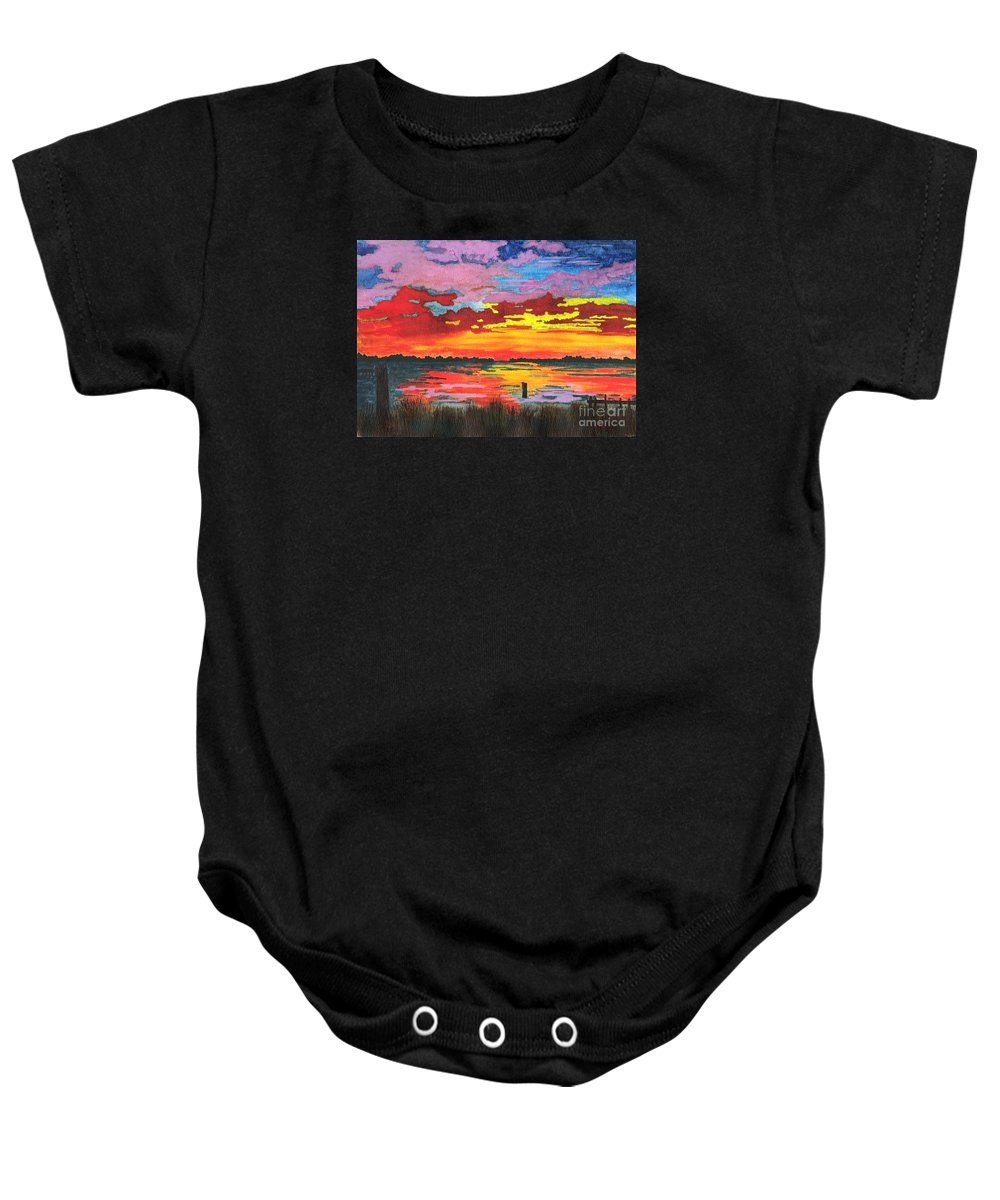 Original Painting Baby Onesie featuring the painting Carolina Sunset by Patricia Griffin Brett
