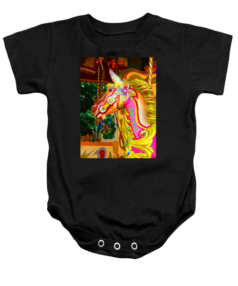 Alfie Baby Onesie featuring the photograph Carousel Horse London Alfie England by Heather Lennox
