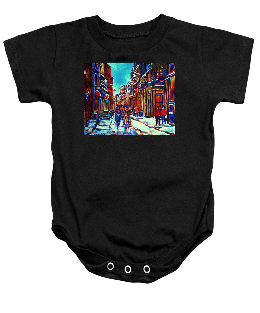 Old Montreal Baby Onesie featuring the painting Carriage Ride Through The Old City by Carole Spandau