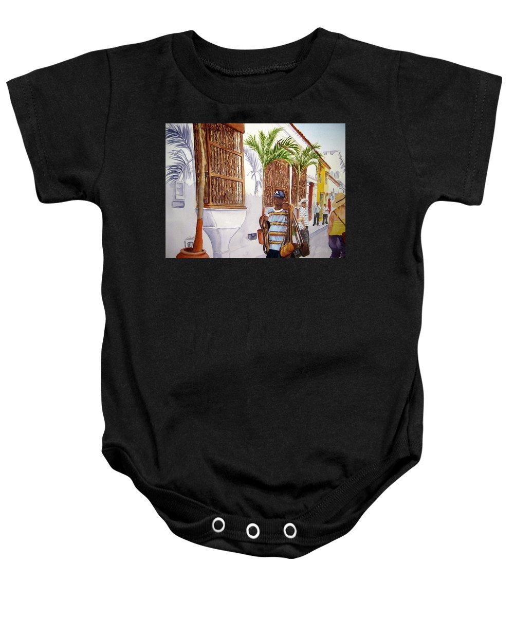 Landscape Baby Onesie featuring the painting Cartagena Peddler I by Julia RIETZ