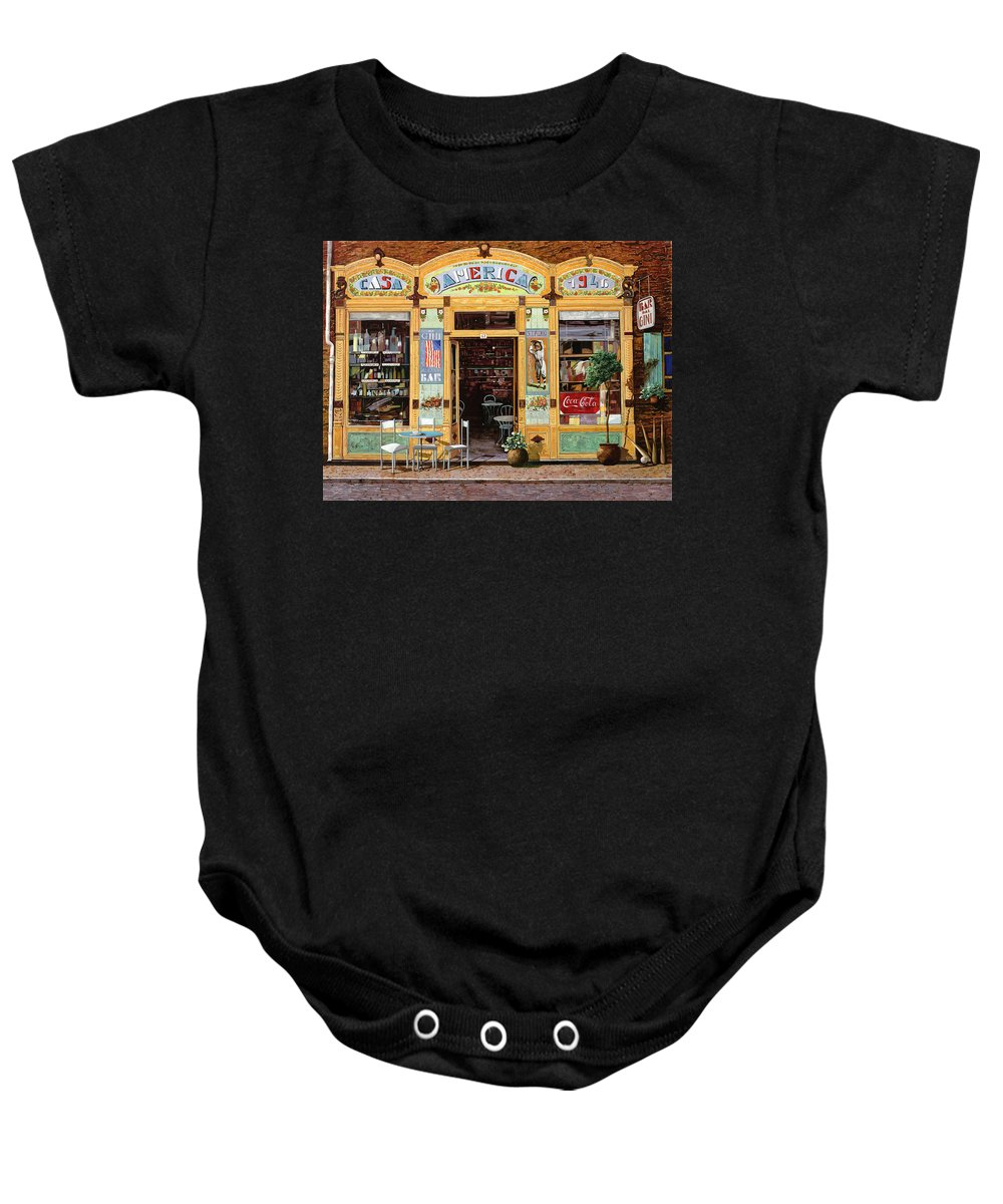 Coffe Shop Baby Onesie featuring the painting Casa America by Guido Borelli
