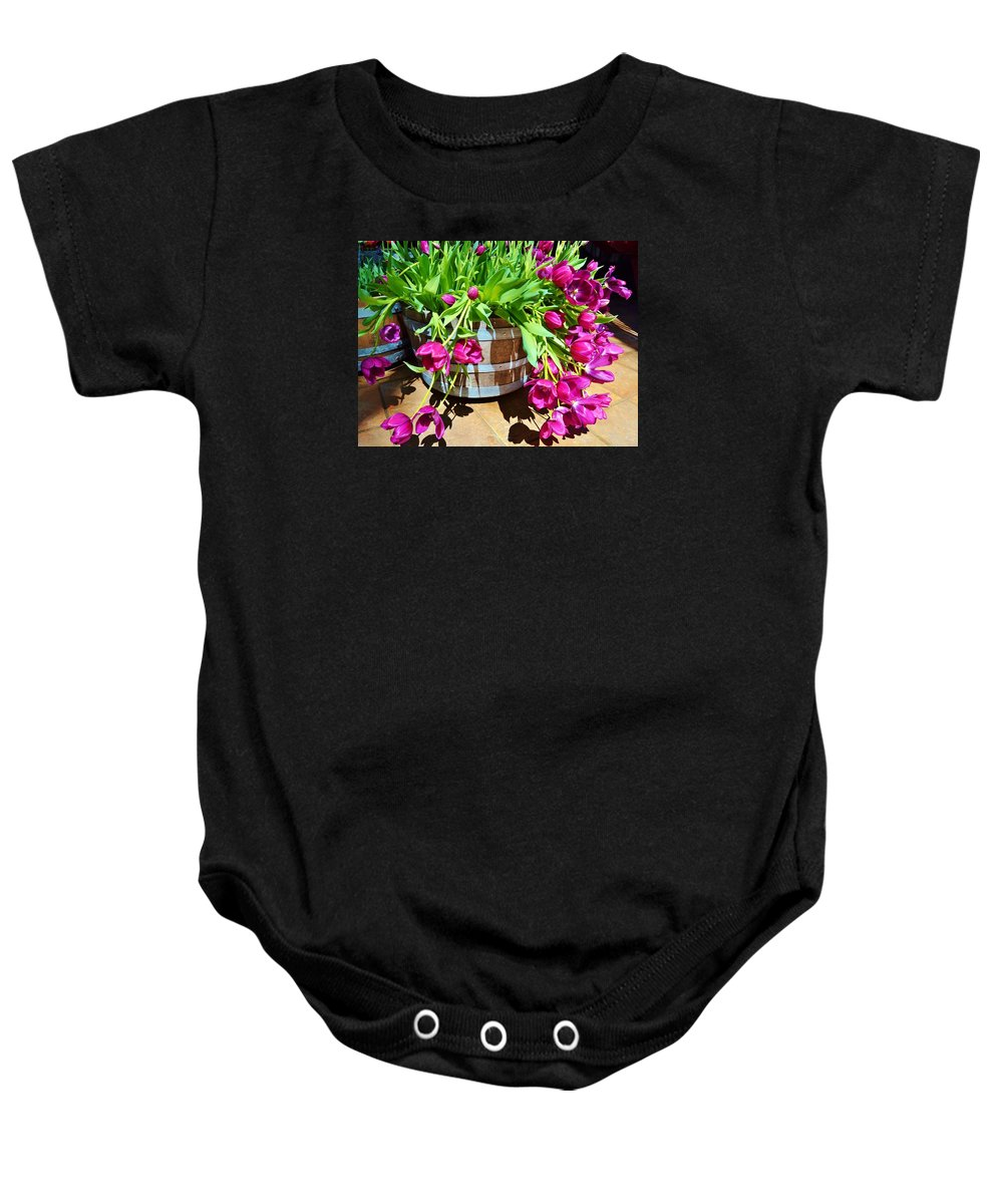 Tulips Baby Onesie featuring the photograph Cascading Purple Tulips by Cherie Cokeley