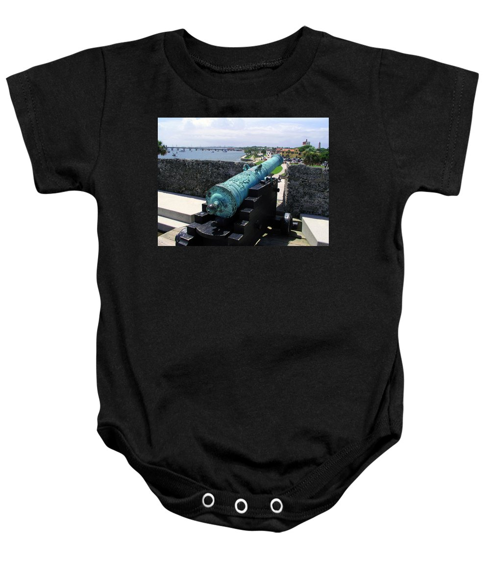 Cannon; Castillo De San Marcos; St. Augustine; Florida; Fort; Castle; Castillo; Spanish; Harbor; St. Baby Onesie featuring the photograph Castillo De San Marcos In St Augustine Florida by Allan Hughes