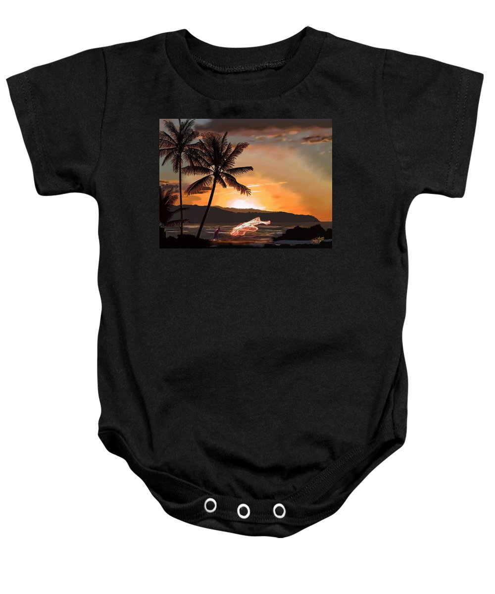 Catching Baby Onesie featuring the painting Casting Net At Sunset by James Mingo