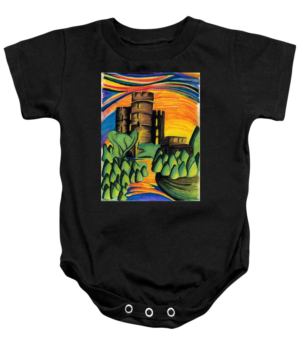 Castle Baby Onesie featuring the pastel Castle by Catilin Ott
