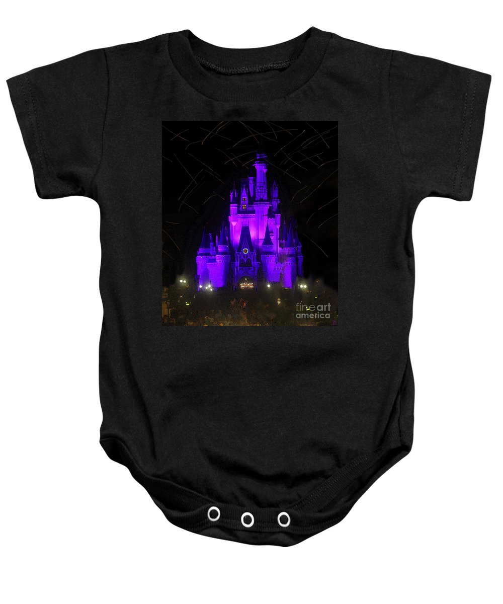 Castle Baby Onesie featuring the painting Castle Of Cinderella by David Lee Thompson