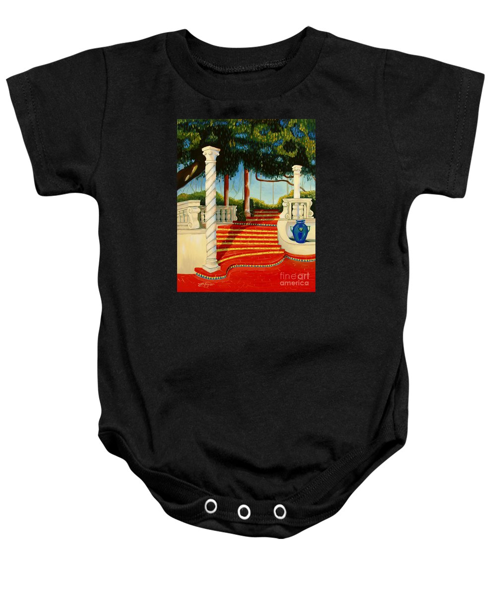 Landscape Baby Onesie featuring the painting Castle Patio 3 by Milagros Palmieri