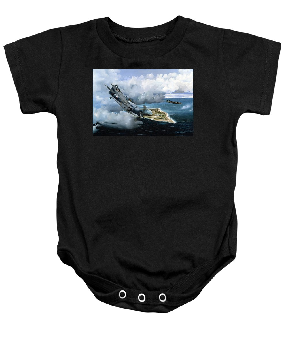 Military Baby Onesie featuring the painting Cat And Mouse Over Wake by Marc Stewart