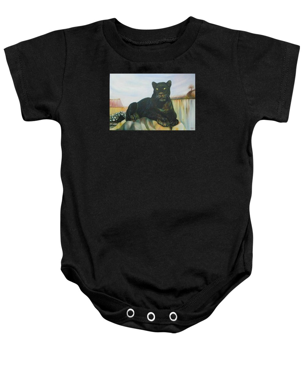 Cat Baby Onesie featuring the painting Cat And The Cave by Sukalya Chearanantana