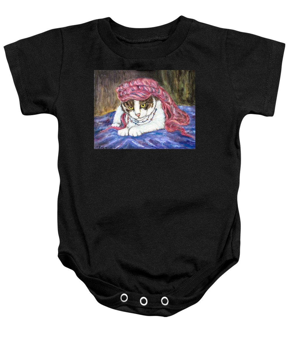 Cat Painting Baby Onesie featuring the painting Tabby Cat With Yellow Eyes by Frances Gillotti