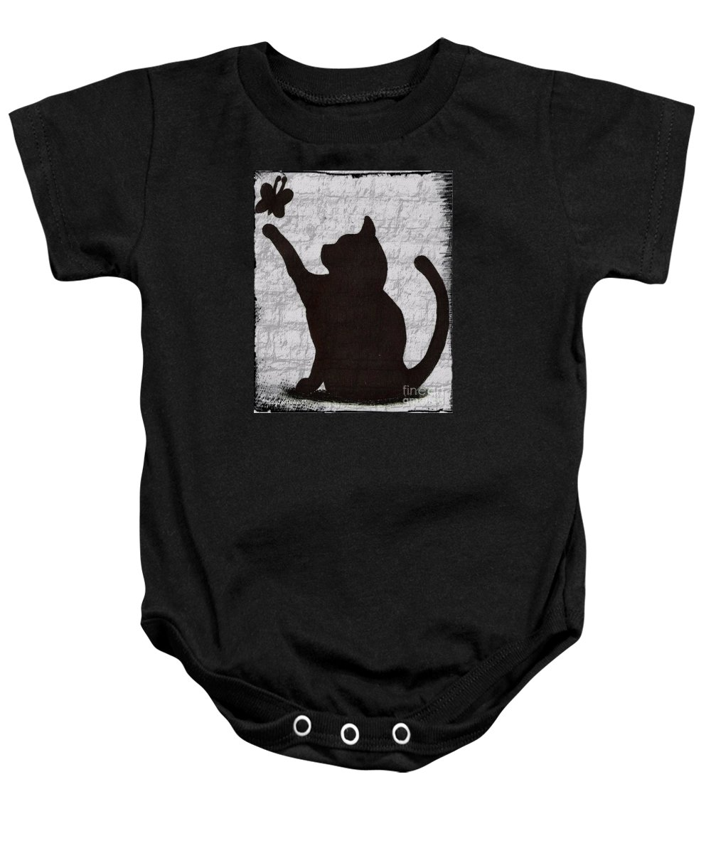 Cat Shadow Baby Onesie featuring the mixed media Cat Shadow And Butterfly by MaryLee Parker