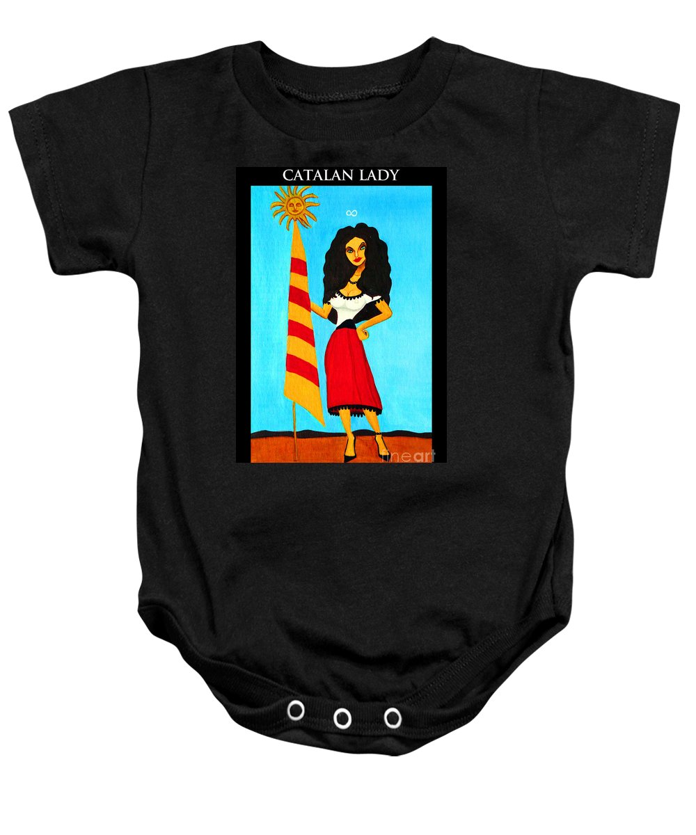 Flag Baby Onesie featuring the painting Catalan Lady / La Ramona by Don Pedro DE GRACIA