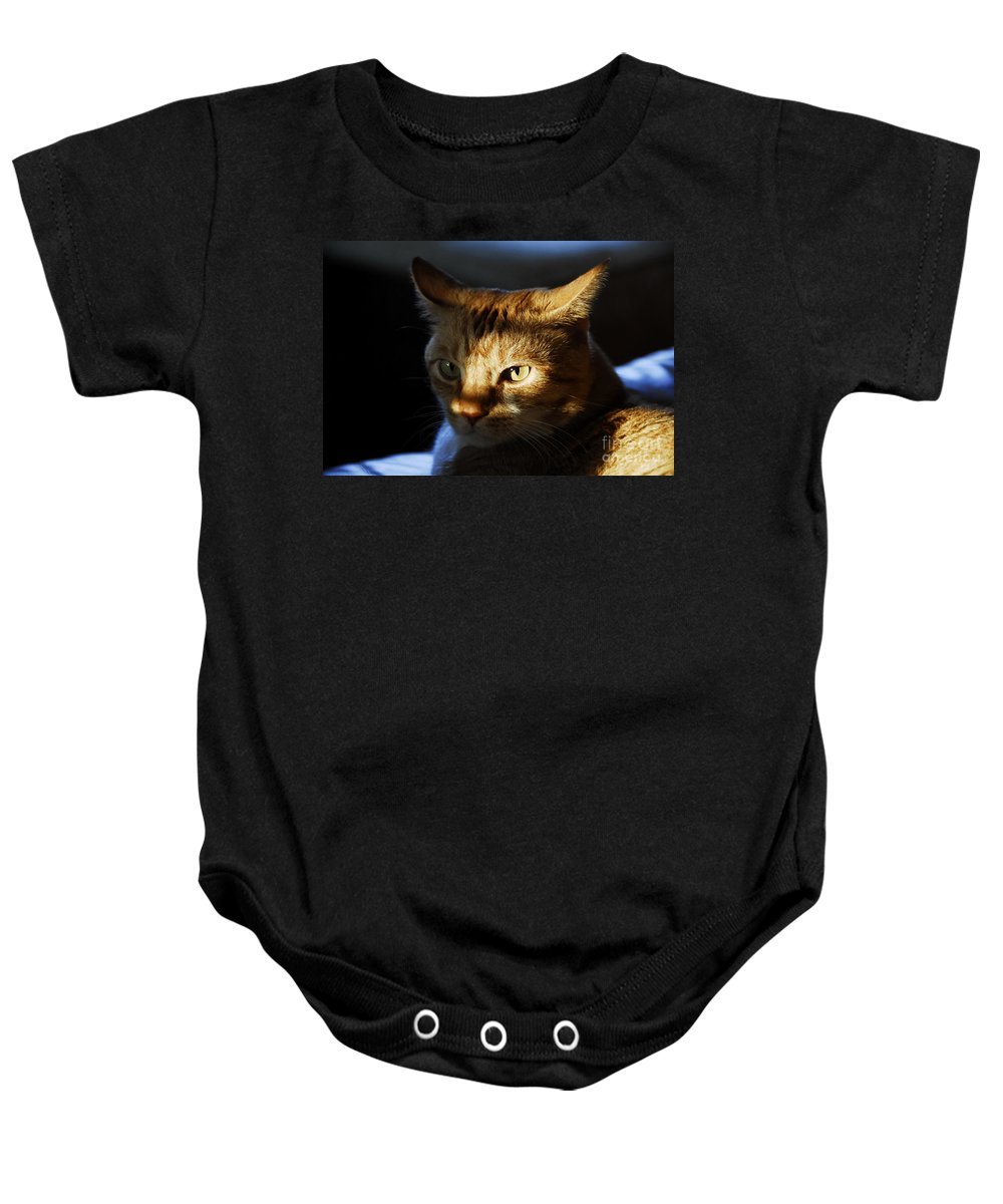 Cat.feline Baby Onesie featuring the photograph Catfish by David Lee Thompson