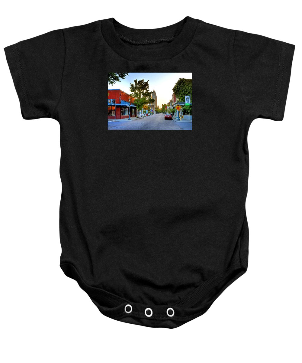 Alabama Baby Onesie featuring the painting Cathedral Square Gallery On Dauphin Street Mobile by Michael Thomas
