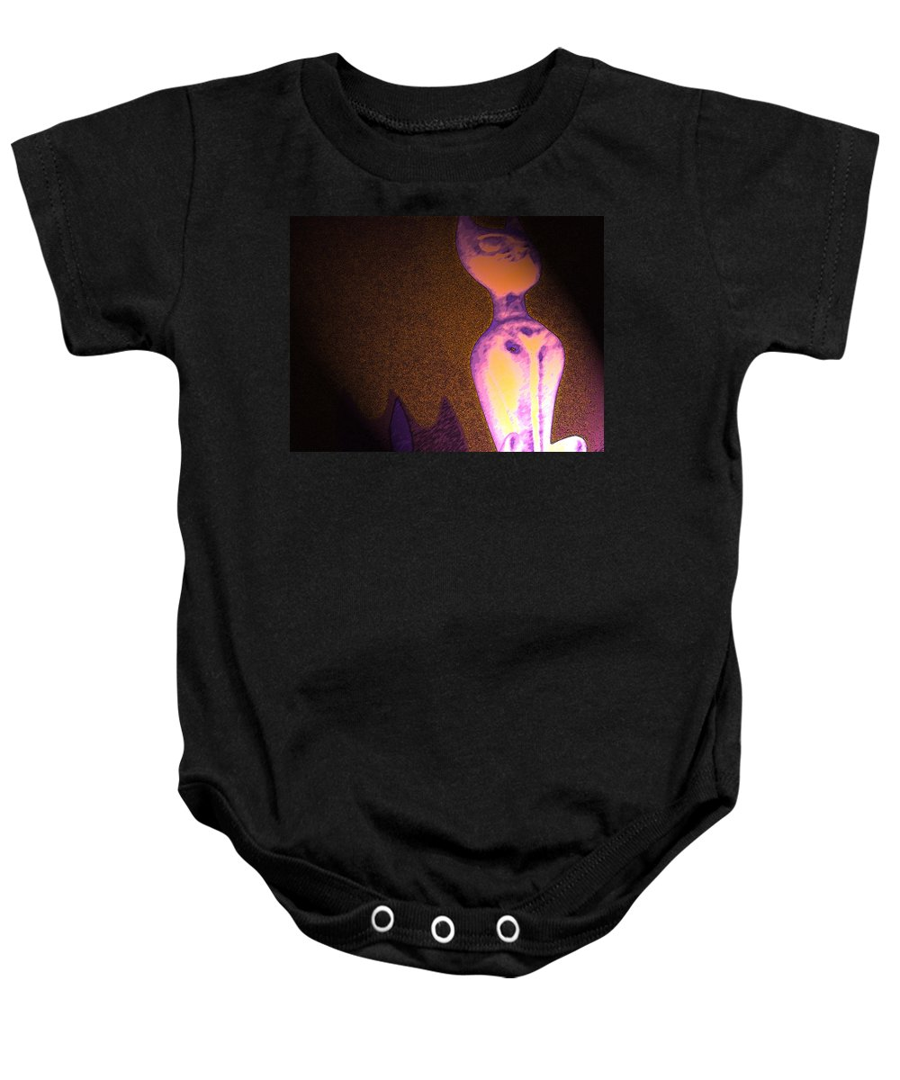 Abstract Baby Onesie featuring the photograph Cats 5 by Lenore Senior