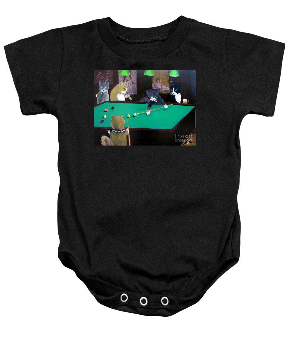 Cats Baby Onesie featuring the painting Cats Playing Pool by Gail Eisenfeld