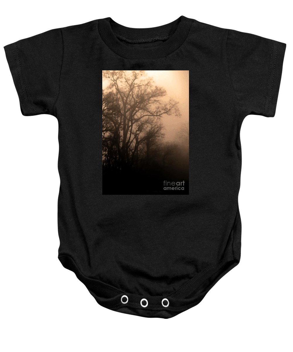 Soft Baby Onesie featuring the photograph Caught Between Light And Dark by Amanda Barcon