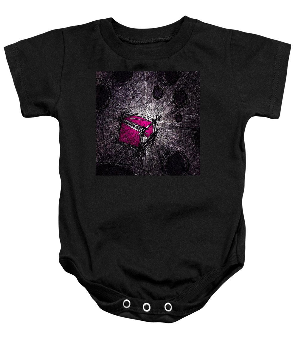 Abstract Baby Onesie featuring the digital art Caught In A Web by Rachel Christine Nowicki
