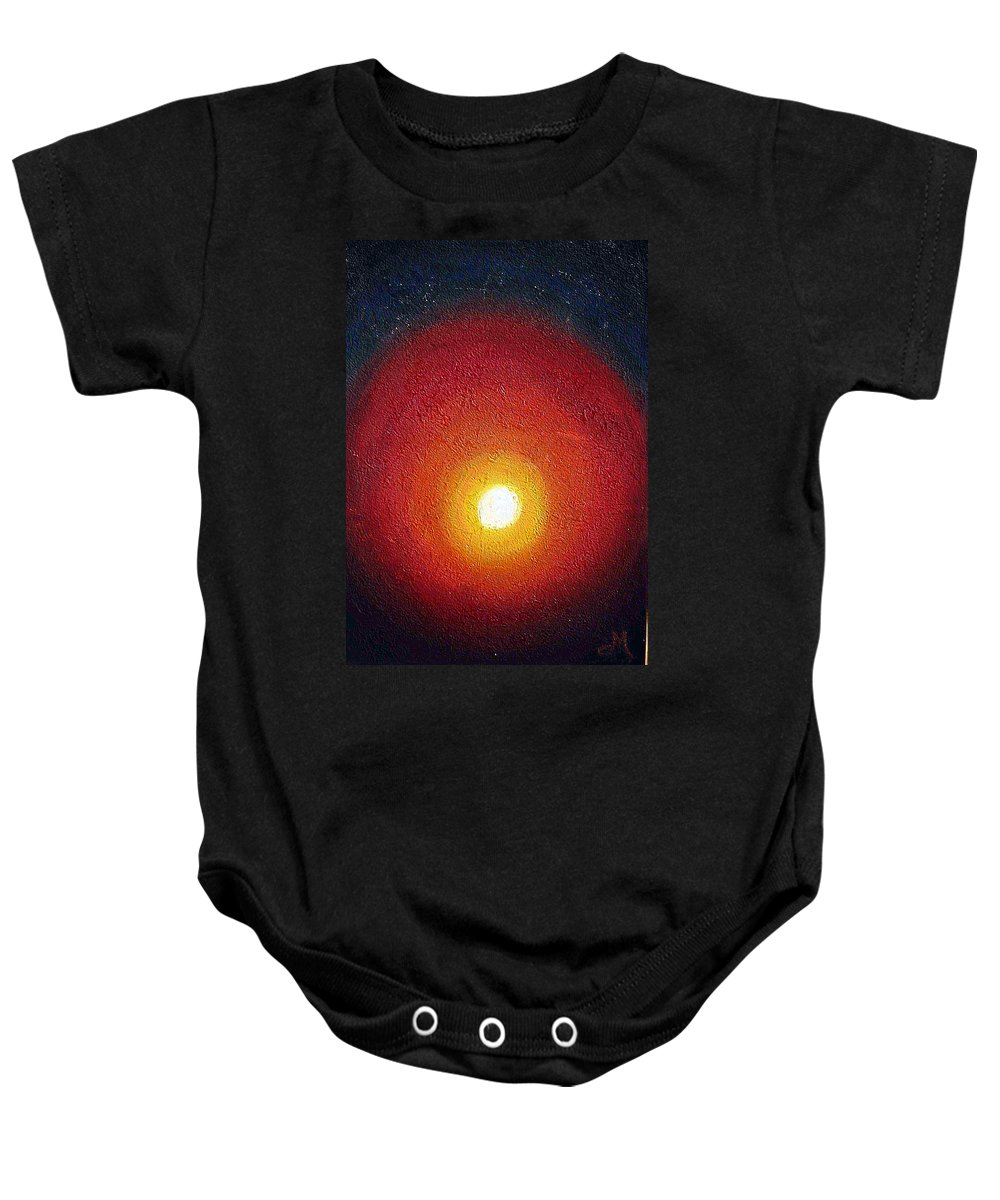 Abstract Baby Onesie featuring the painting Caution by Dragica Micki Fortuna