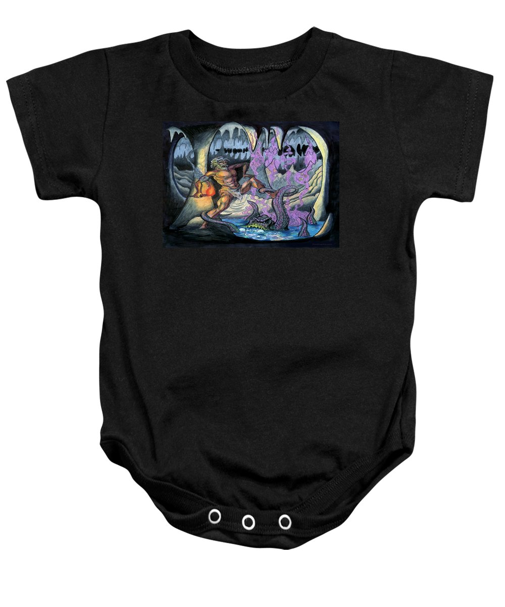 Cave Baby Onesie featuring the painting Cave Creature by Kevin Middleton