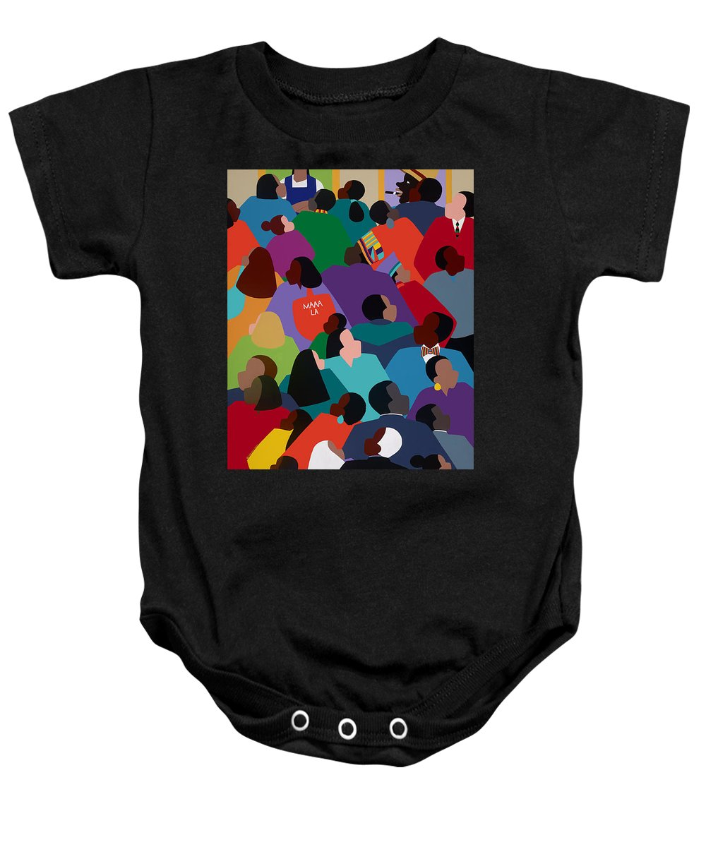 African American Baby Onesie featuring the painting Celebration Maaa-la by Synthia SAINT JAMES