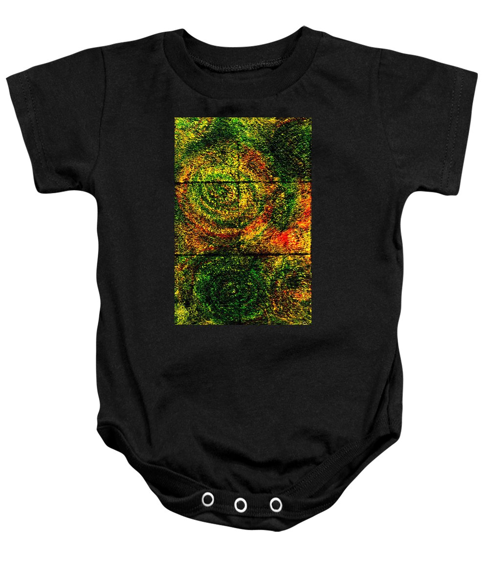 Abstract Baby Onesie featuring the painting Celestial Grid by Wayne Potrafka