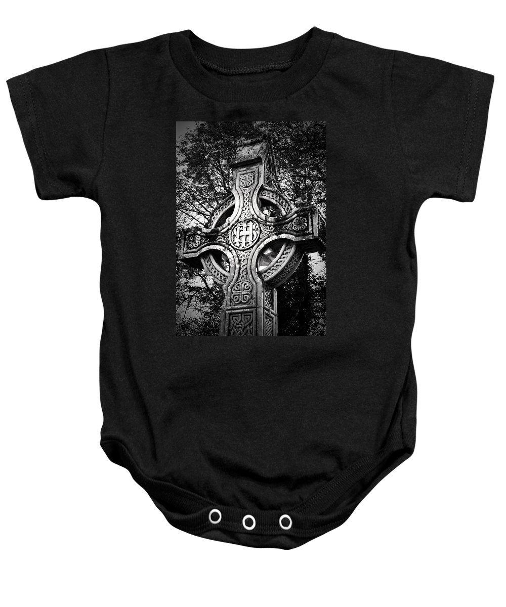 Irish Baby Onesie featuring the photograph Celtic Cross Detail Killarney Ireland by Teresa Mucha
