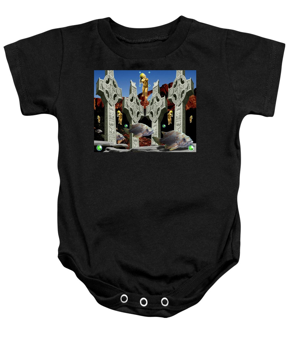 Landscape Baby Onesie featuring the digital art Celtic Valley by Keith Dillon