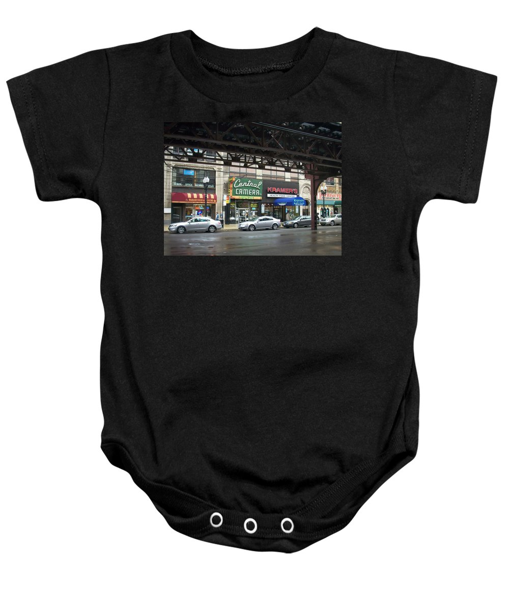 Chicago Baby Onesie featuring the photograph Central Camera On Wabash Ave by Anita Burgermeister