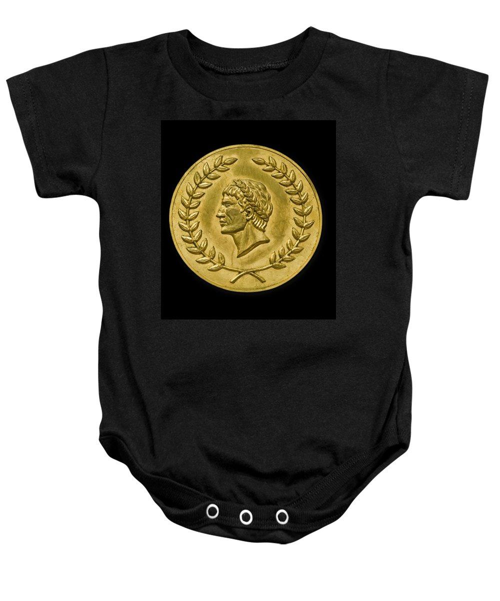 Julius Cesar Baby Onesie featuring the photograph Julius Cesar Roman Coin by Gary Warnimont