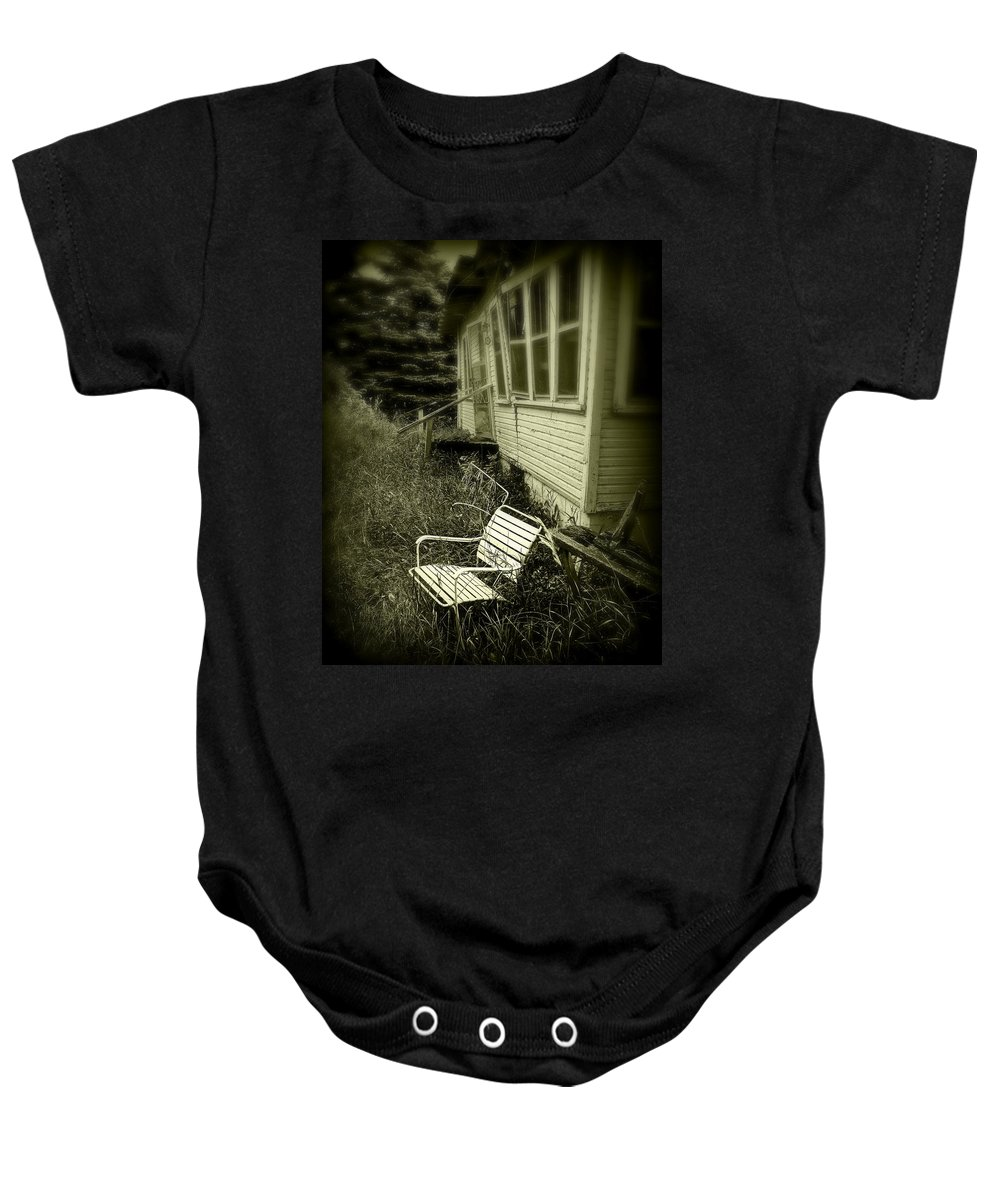 Chair Baby Onesie featuring the photograph Chair In Grass by Perry Webster