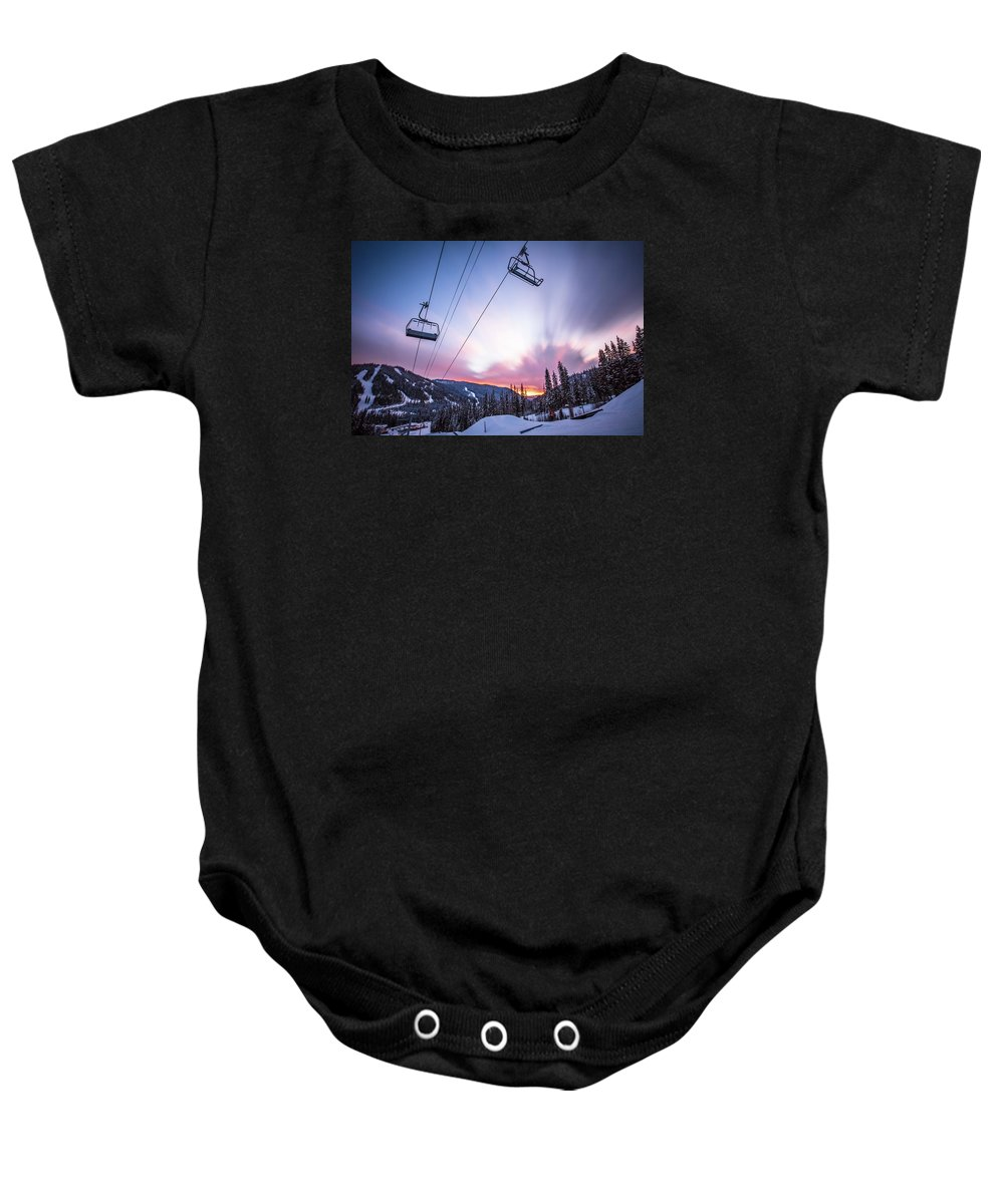 Sunset Baby Onesie featuring the photograph Chairlift Sunset by Sam Egan