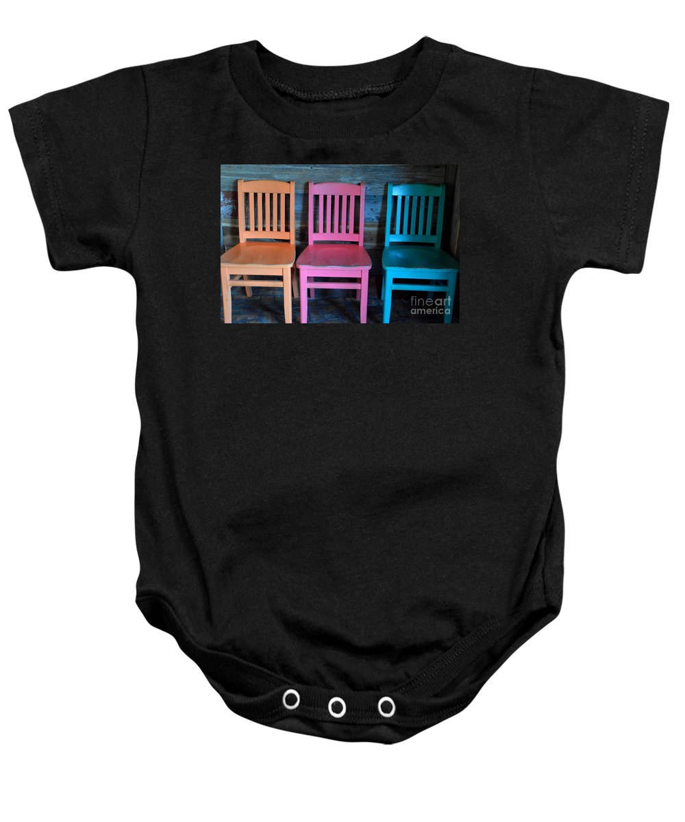 Chairs Baby Onesie featuring the photograph Chairs by Jan Prewett