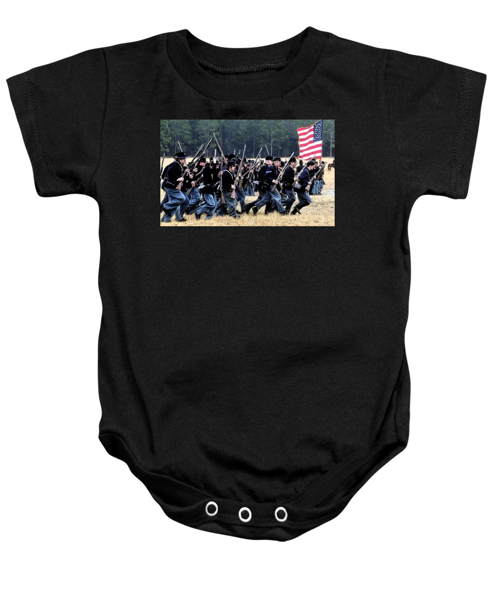 Civil War Baby Onesie featuring the painting Charge by David Lee Thompson