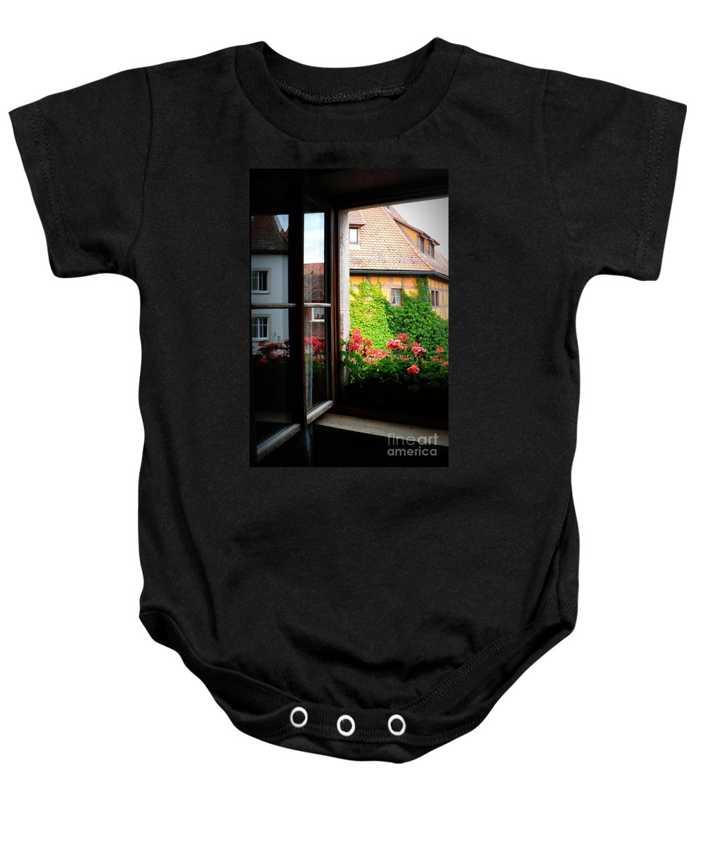 Europe Baby Onesie featuring the photograph Charming Rothenburg Window by Carol Groenen