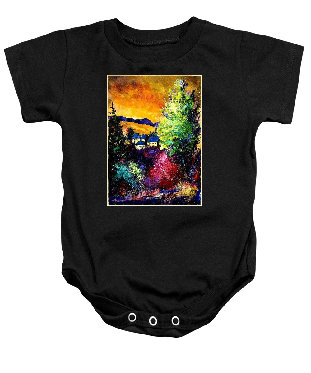Landscape Baby Onesie featuring the painting Charnoy by Pol Ledent