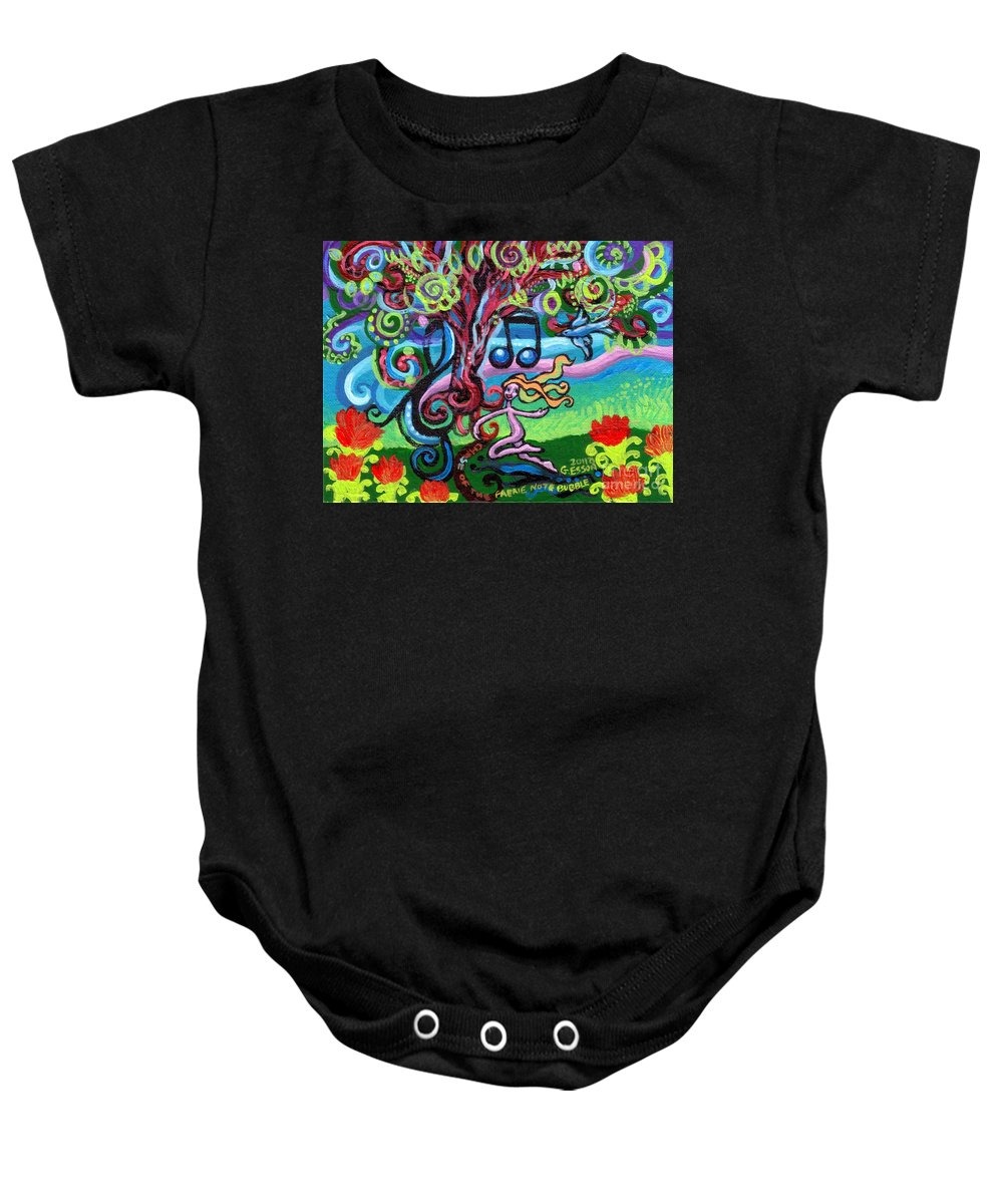 Chase Of The Faerie Note Bubble Baby Onesie featuring the painting Chase Of The Faerie Note Bubble by Genevieve Esson