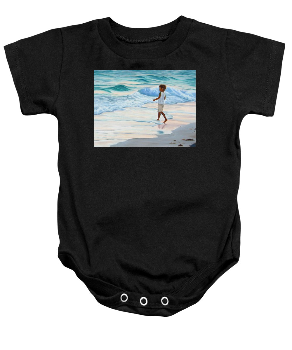 Child Baby Onesie featuring the painting Chasing The Waves by Lea Novak