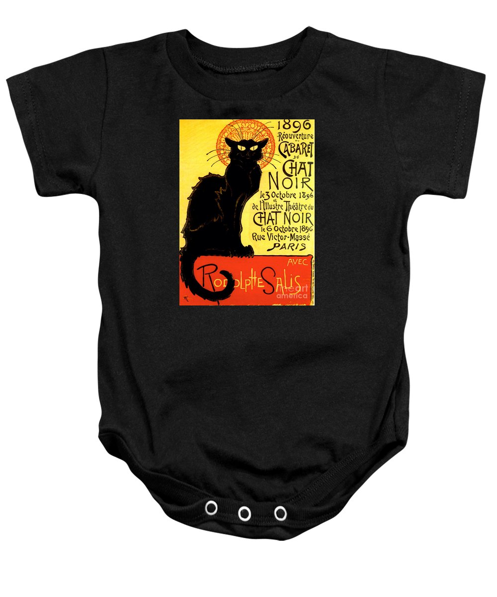 Black Cat Baby Onesie featuring the painting Chat Noir Vintage by Mindy Sommers