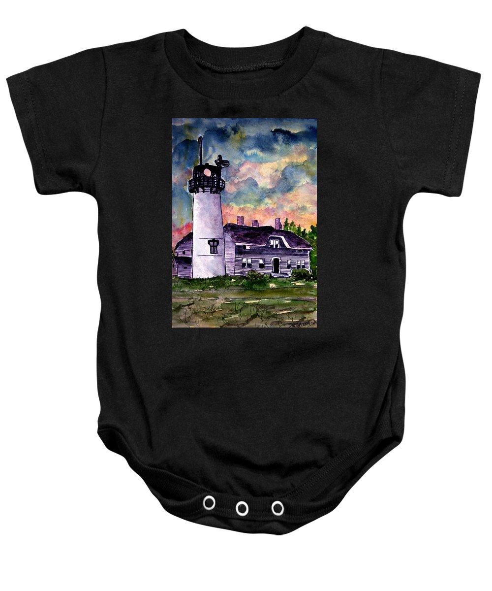 Lighthouse Baby Onesie featuring the painting Chatham Lighthouse Martha's Vineyard Massachuestts Cape Cod Art by Derek Mccrea
