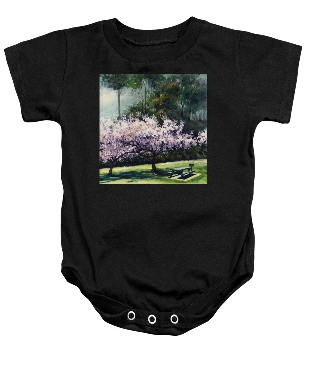 Trees Baby Onesie featuring the painting Cherry Blossoms by Rick Nederlof