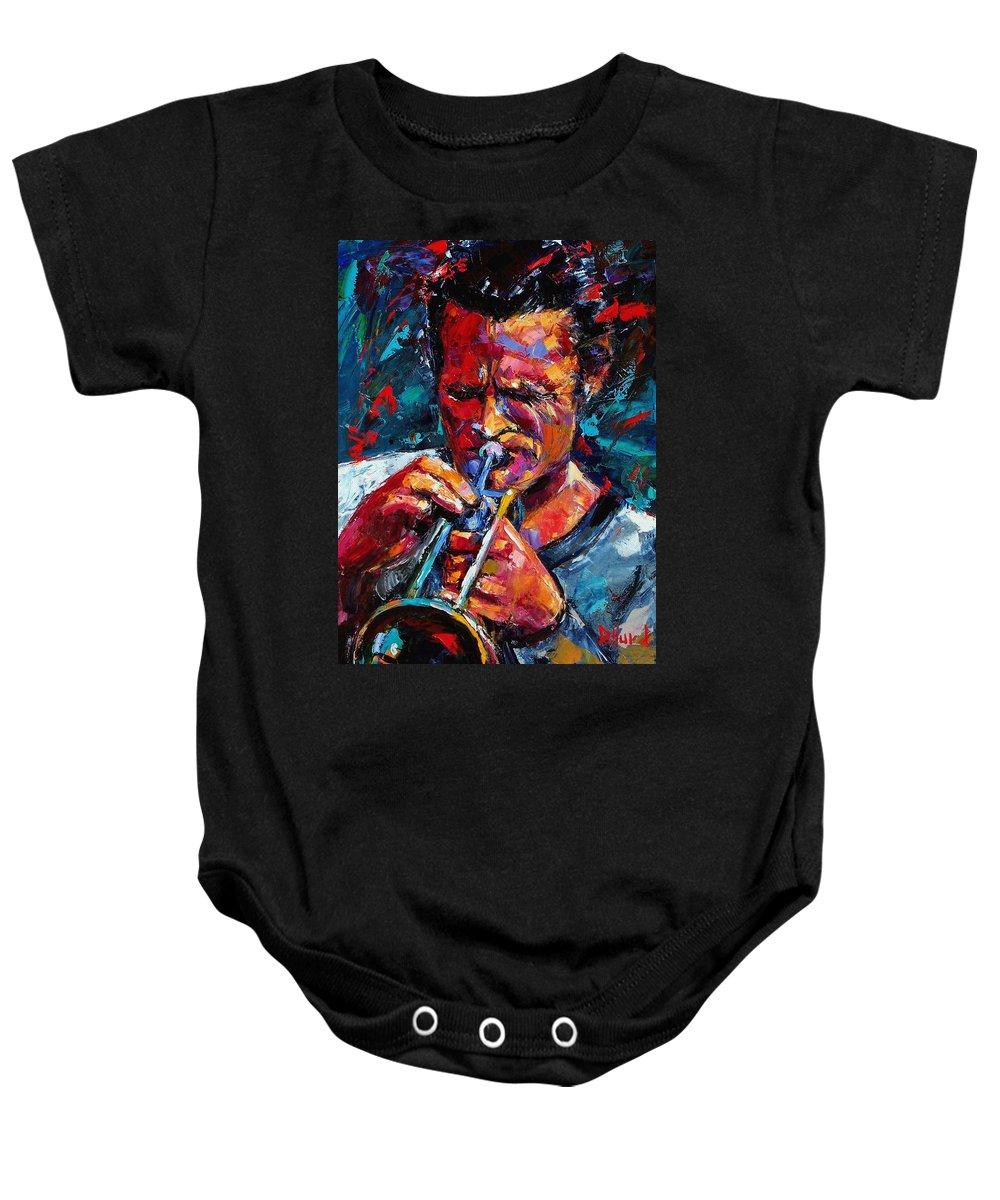 Chet Baker Baby Onesie featuring the painting Chet Baker by Debra Hurd