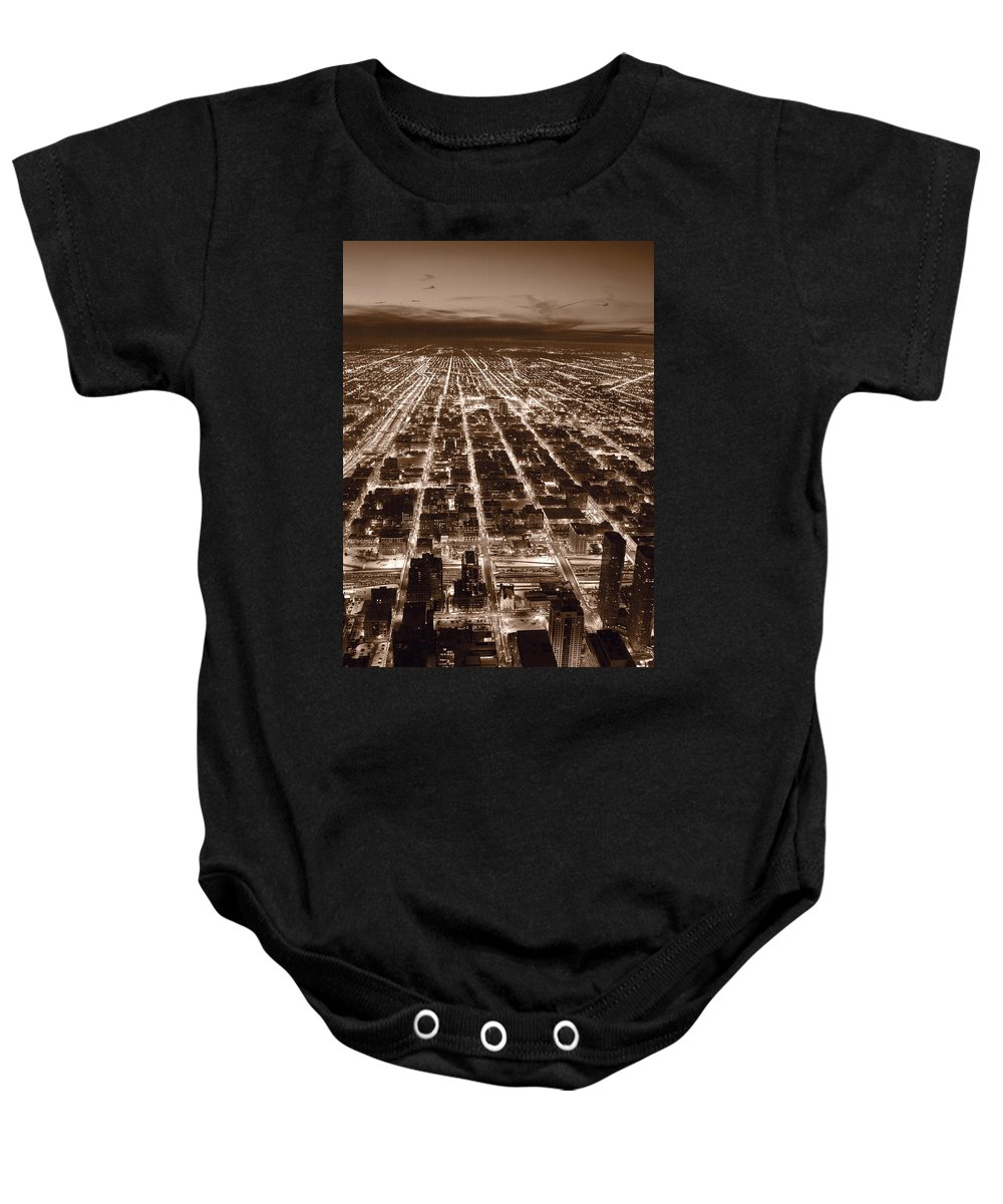 Aerial Baby Onesie featuring the photograph Chicago City Lights West B W by Steve Gadomski