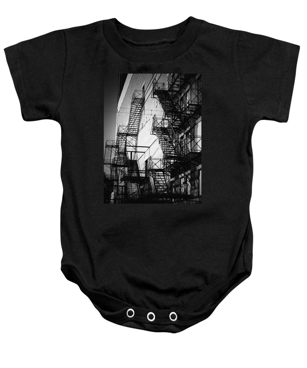 Chicago Baby Onesie featuring the photograph Chicago Fire Escapes 2 by Kyle Hanson