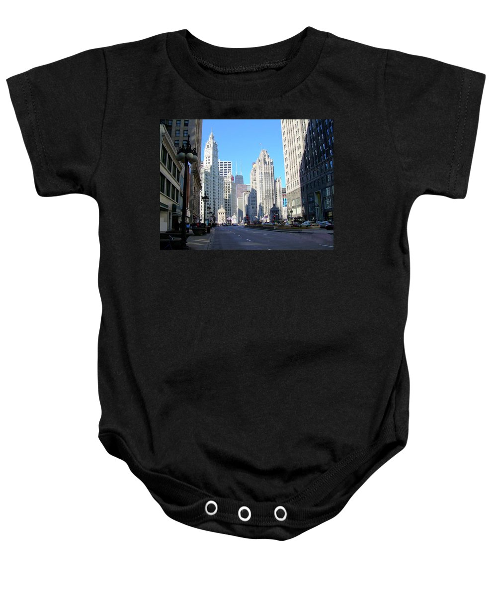 Chicago Baby Onesie featuring the photograph Chicago Miracle Mile by Anita Burgermeister