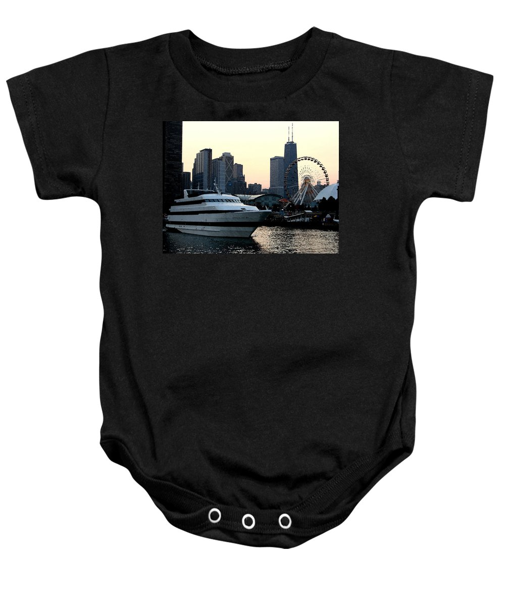 Photo Baby Onesie featuring the photograph Chicago Navy Pier by Glory Fraulein Wolfe