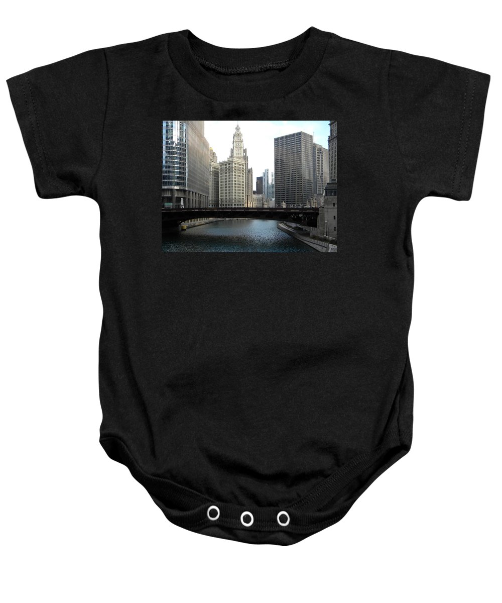 Chicago Baby Onesie featuring the photograph Chicago River by Jan Gilmore