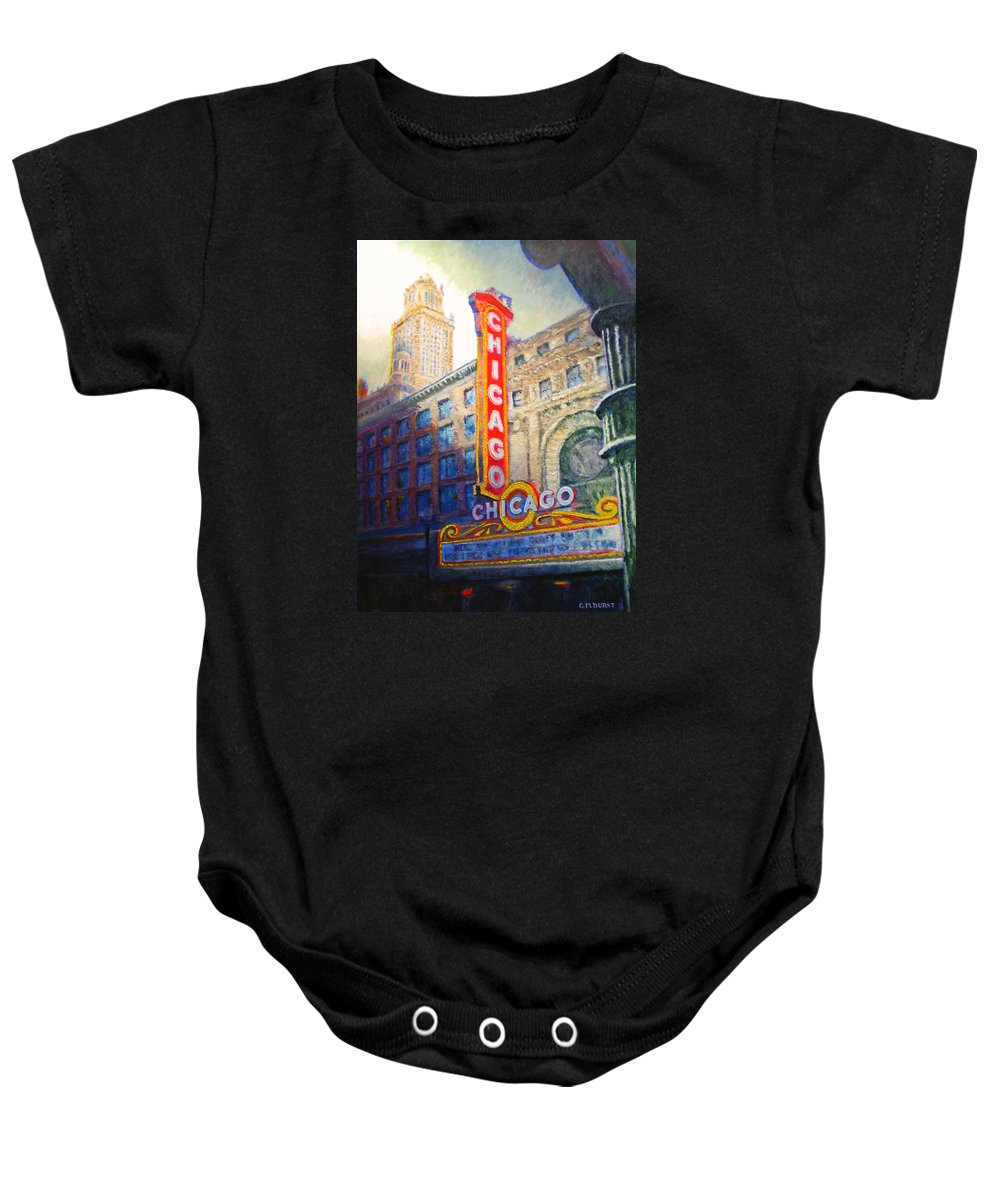 Chicago Baby Onesie featuring the painting Chicago Theater by Michael Durst